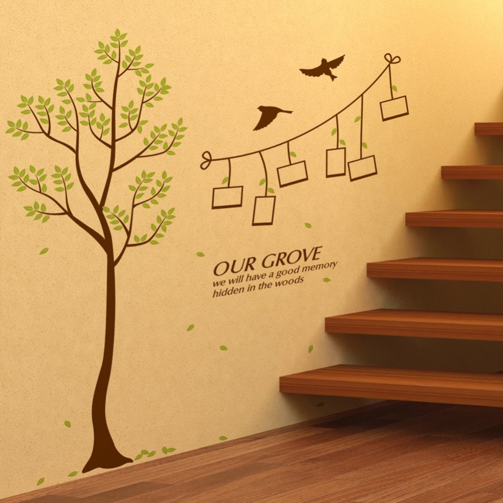 Grove Tree Leaves Birds Photo Frames Wall Decal Home Sticker Paper ...