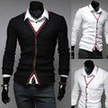 New 2015 spring and autumn color placket business casual men's cardigan sweaters splicing free shipping Men's Clothing