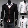 Novo 2015 primavera e no outono cor placket splicing cardigan camisolas dos homens de negócios casuais dos homens livres do transporte Roupas