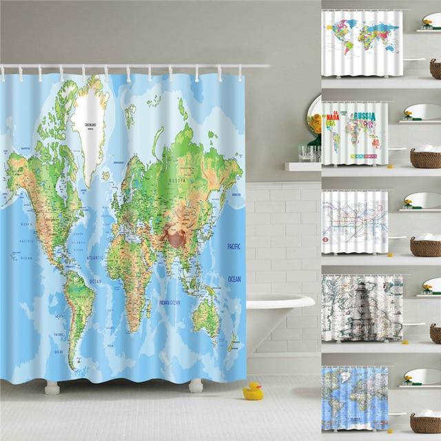 Mappa del mondo Stampato blu tende da doccia bagno tenda in bagno lavabile per v