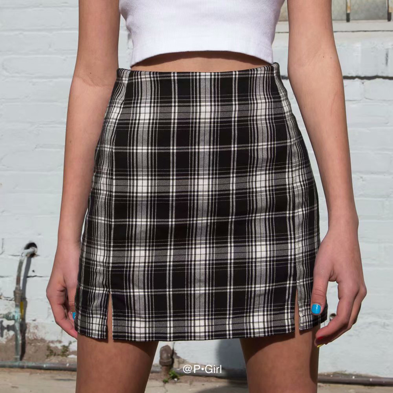 Classic Women Grey-white Plaid Preppy Style Casual Mini Skirt Front Double Split Women Plaid A-line  Mini Skirt