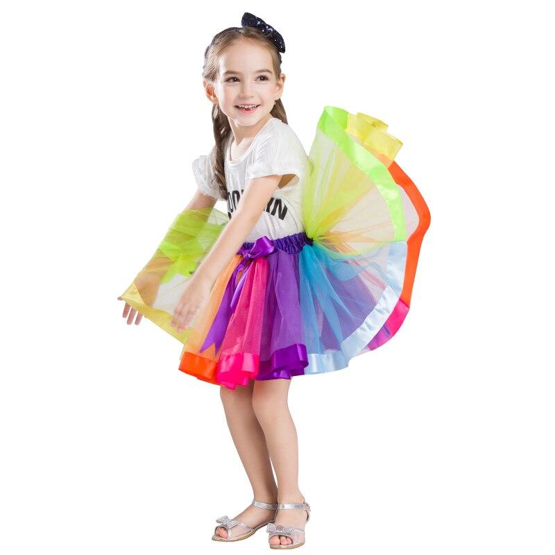 Baby Girl Skirt Kids Tutu Skirts Rainbow Petticoat Hot Selling Pettiskirt Tutu Custome Party Wedding Dance Bowknot Skirt 2017
