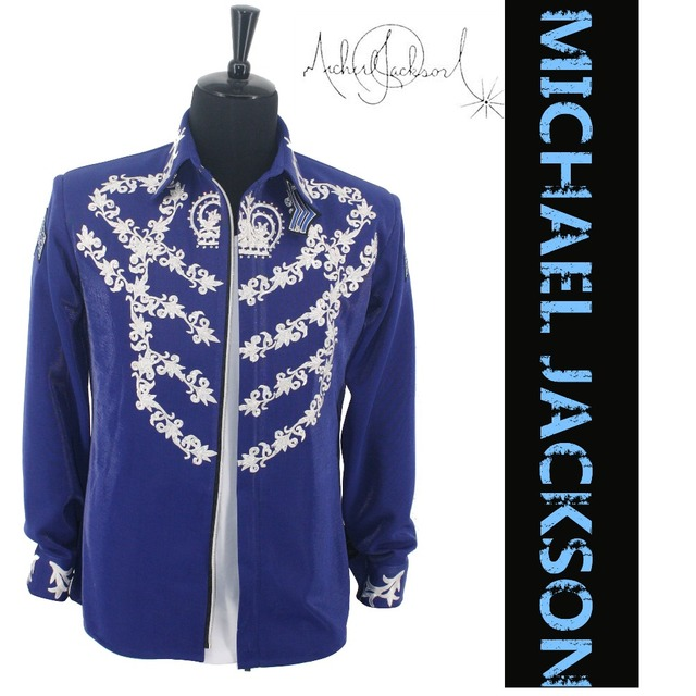 Rare MJ Michael Jackson This is it Blue 50TH BIRTHDAY Printing Crystal  JACKET Outerwear 2ac6729694d2