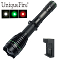 UniqueFire новейший светодиодный фонарик UF-1508-XRE 38 мм выпуклая линза Zoom 3 режима (Hi-Mi-Low) фокусировка (G/R/W) + зарядное устройство 18650