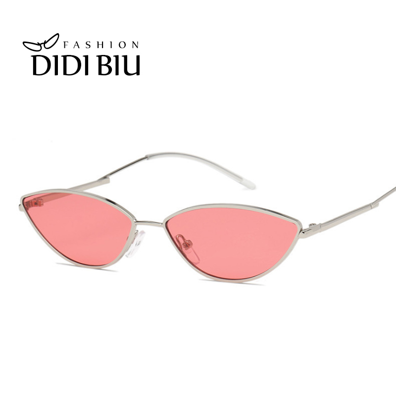 Pink Narrow Sexy Sunglasses Women Star Hippie Tiny Thin Wire Sun Glasses Ladies Triangle Mirror Cat Ear Blue Points Femme WL918