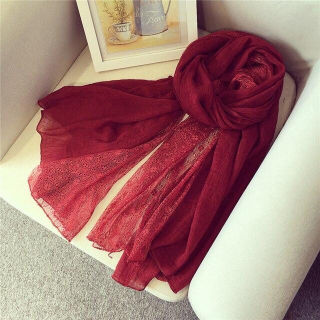 Nouveau Design Femmes Foulard Coton Polyester Patchwork Dentelle Noir Rouge  Écharpe Musulman Hijab Femmes Hiver Écharpe 25d8154424e