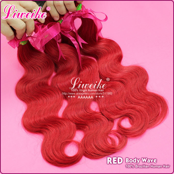 Red Hair Brazilian Body Wave Top Quality Hair Product Human Hair Extension Hair Weaves 1Pcs,DHL Free Shipping