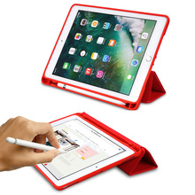 For ipad 2017 2018 Case with Apple Pencil Holder PU Leather Silicone Soft Cover Smart Case For Apple ipad Air 1 Air 2 Pro 9.7