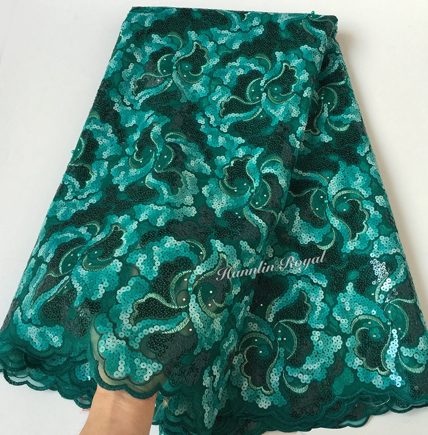 Massive sequins African french lace sewing tulle fabric net lace 5 yards 6241 unique high quality