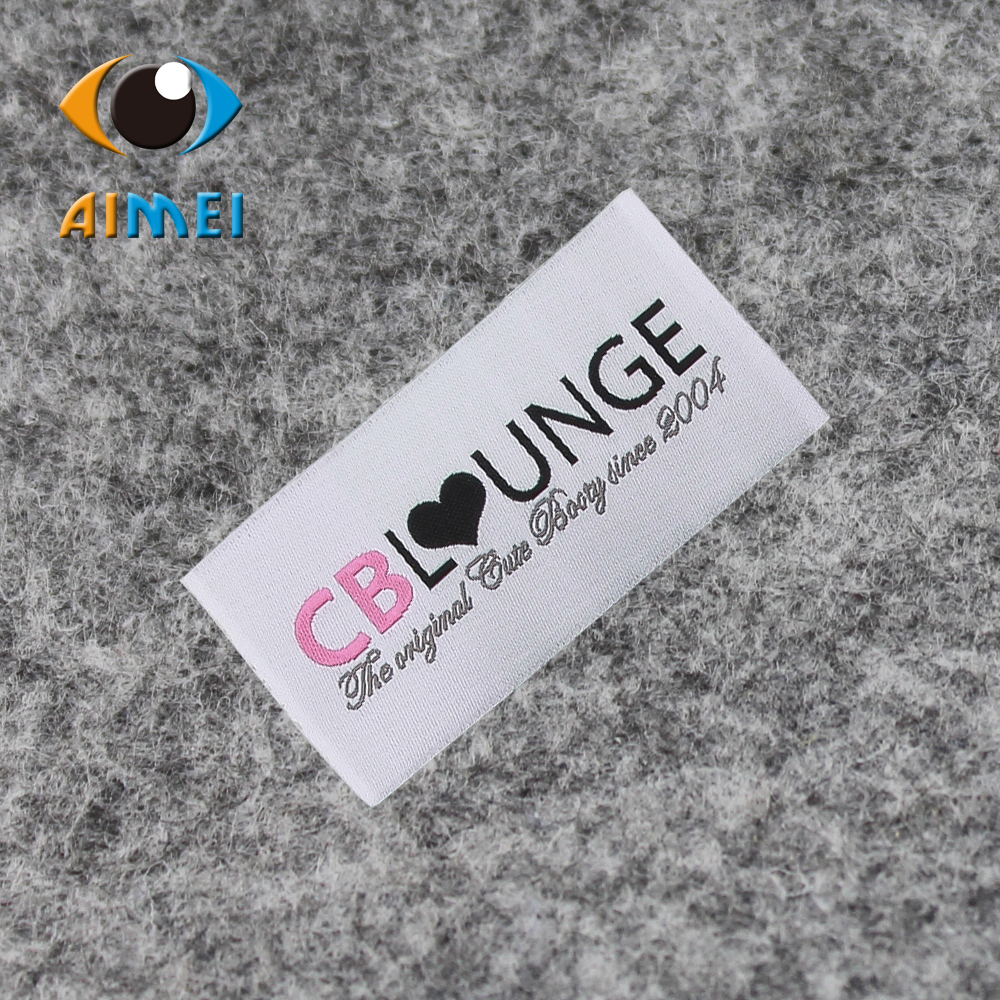 Free Design & Free Shipping Customized 100% high density Women or men clothing labels / woven labels/ main labels FL019