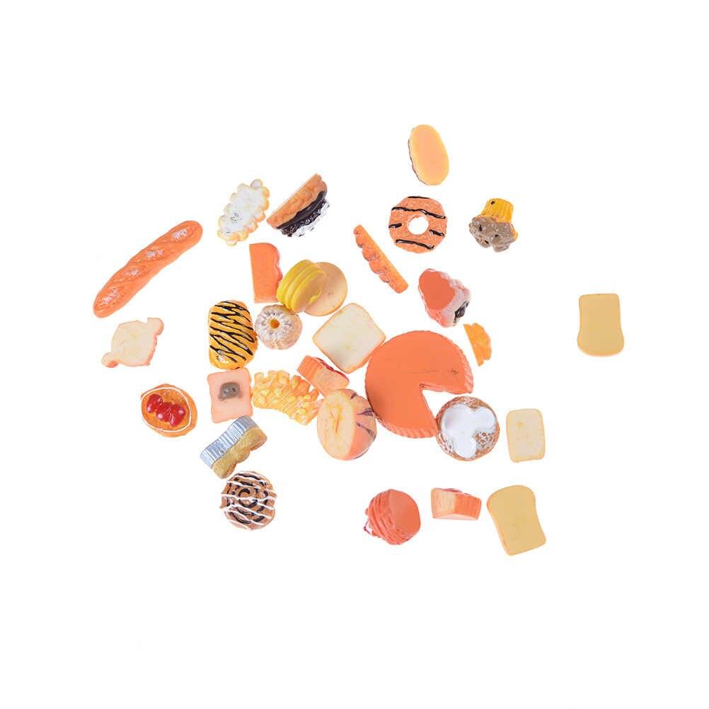 חמוד מיני לשחק צעצוע פירות מזון עוגת סוכריות פירות המבורג ביסקוויט סופגניות מיניאטורות בובות אביזרי מטבח לשחק צעצועי מכירה לוהטת
