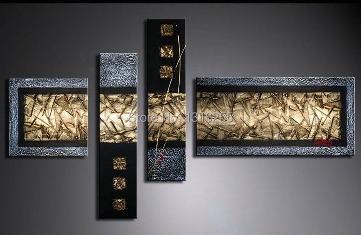 Handpainted Wall Paintings Home Decorative 4pcs/set Gold Silver Modern  Abstract Art Paintings For Sale( Free Shipping) In Painting U0026 Calligraphy  From Home ...