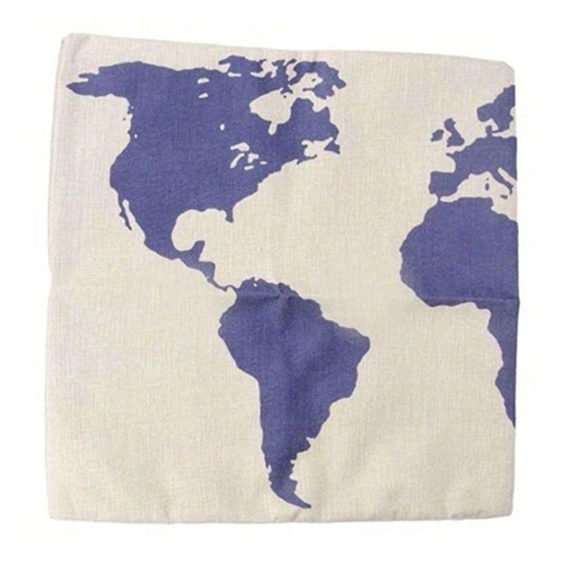 2017 World Map pillowcase Pillow slip fashion linen bend cushion pillow case cover square shape on sale