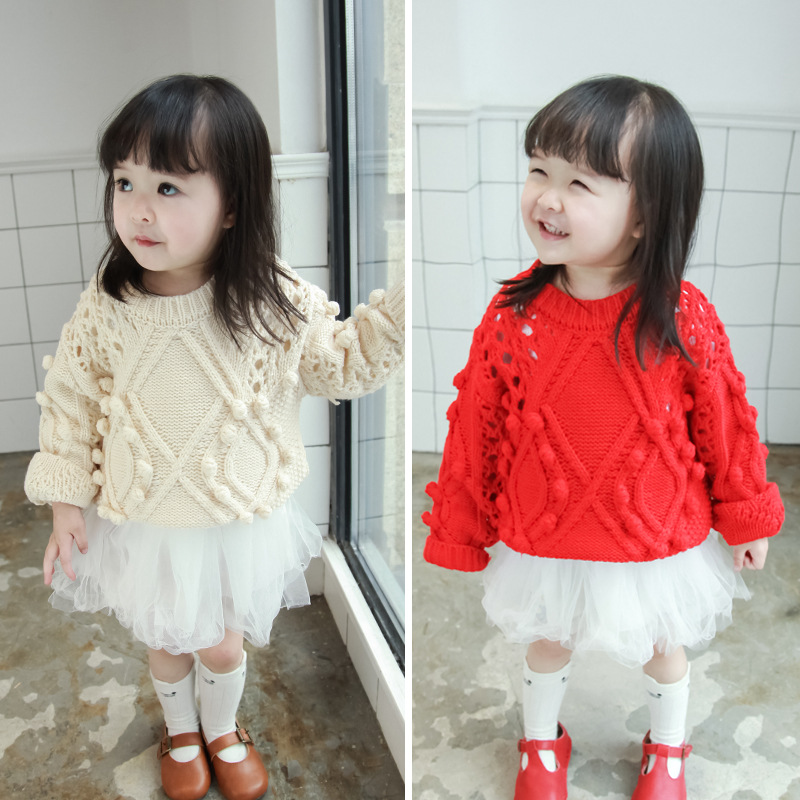 Autumn Spring Pom Baby Girls Boys Clothes Pullover Hollow Knitted Sweater Kids Warm Swea ...