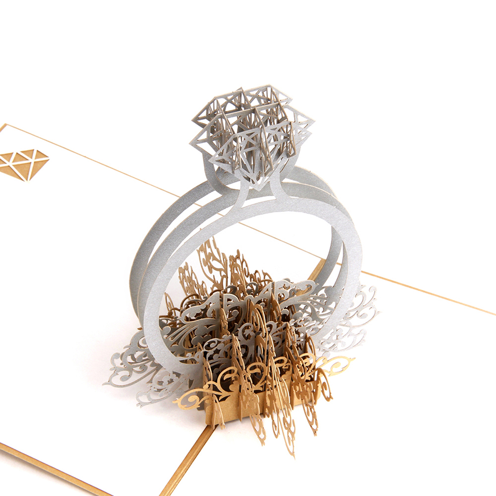 Gold Laser Cut 3d Ring Pop up Wedding Invitations Romantic Handmade Valentines Day for Lover Postcard Greeting Gift Card 10PCS