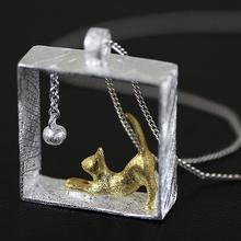 Elegant Pendant Necklace with Playing Kitten Themed Pendant