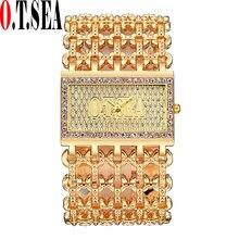 Luxury O.T.SEA Brand Fashion Big Dial Watches Women Ladies Crystal Dress Quartz Wristwatches Relogios Feminino 2147