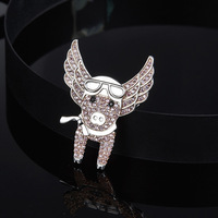 [MeiBaPJ]High Quality 925 Sterling Silver Pink Flying Piggy Brooch Pave Cubic Zirconia Women L'aviateur Pet Pig Jewelry