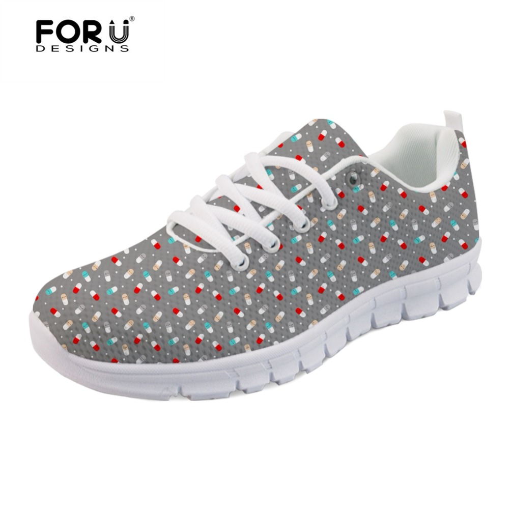 FORUDESIGNS Cartoon Pills Fashion Brand Designer Women's Sneakers Spring Summer Women Flats Shoes Breathable Mesh Shoes Woman instantarts fashion women flats cute cartoon dental equipment pattern pink sneakers woman breathable comfortable mesh flat shoes