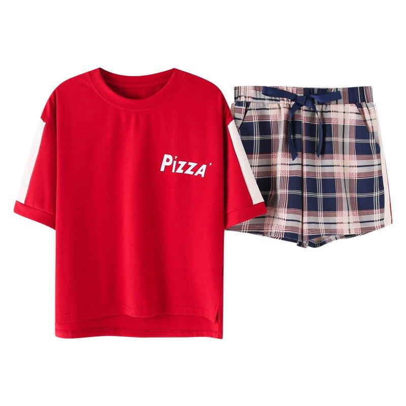 Korean Loose Plaid 2019 Summer Cute   Pajamas   Women Cotton   Pajama     Set   Short Sleeve Elastic Waist Sleepwear Lounge pyjamas S93220