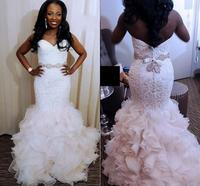 Sweetheart Mermaid Wedding Dress Ruffles Tiered Bride Dress Plus Size Wedding Gown African Black Girl Wedding Dress 2020