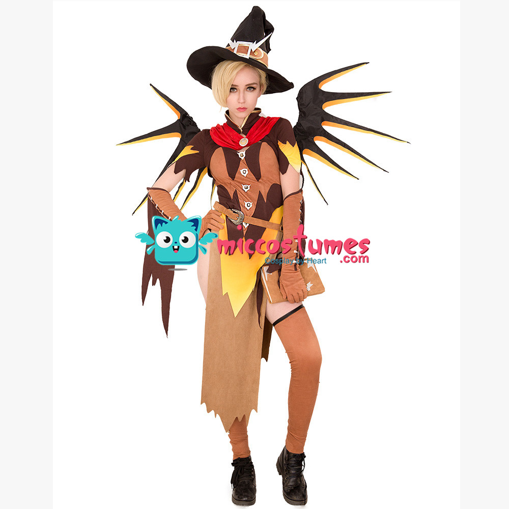 Witch Mercy Cosplay Costume for Halloween with Wings 1
