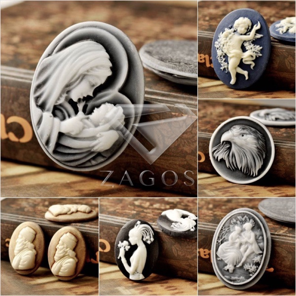 4/8Pcs Fashion Resin B Grade Vintage Style King Amgel Eagle Flat Back Cameo Cabochon For Jewelry Making Wholesale Fast Ship