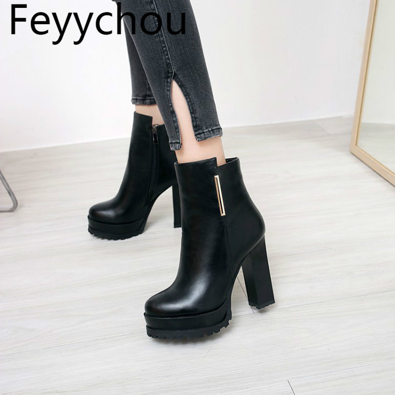 Women Boots Autumn Winter Warm Flock 2018 New Sexy Fashion Mid calf Zip Motorcycle Boot Red