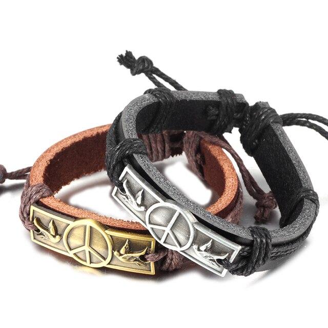 New Arrival Genuine Punk Leather Bracelets For Women Men Peace Bangles Fashion Fine Jewelry