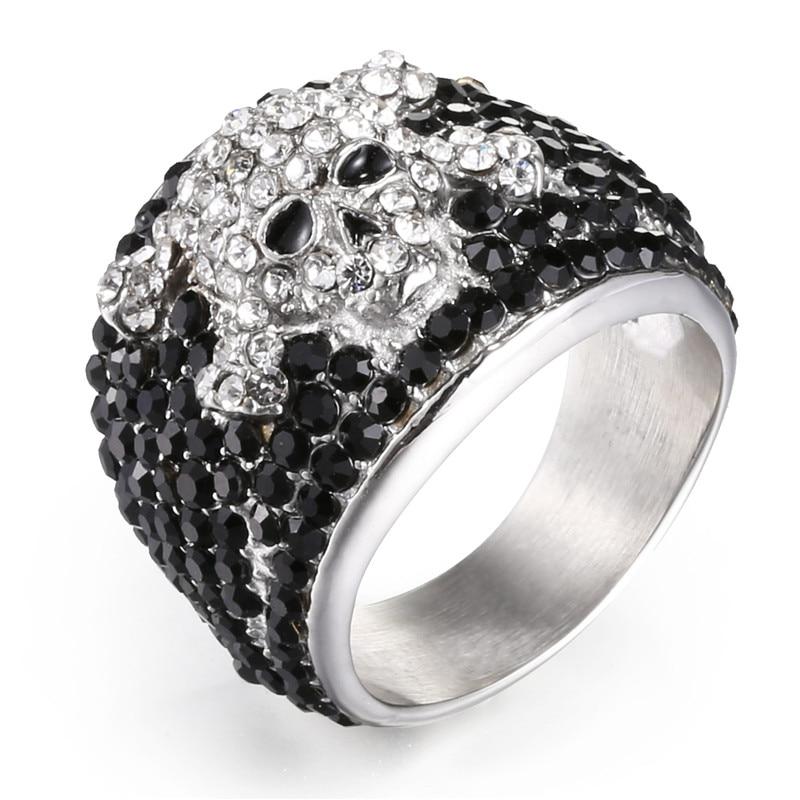 Anillos de calavera punk rock vintage de Johnny Hallyday para hombre joyería de mujer 316 Acero inoxidable hip hop Cool drill Finger ring