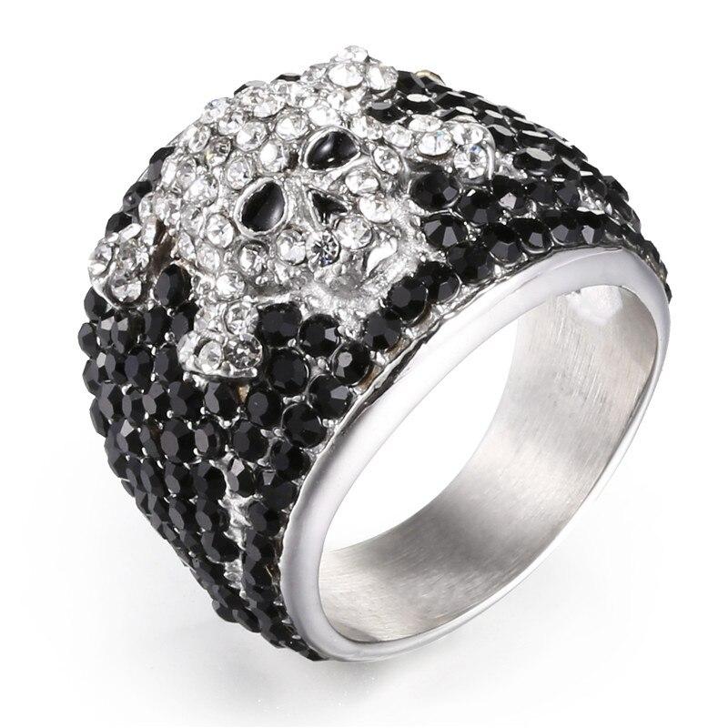 Johnny Hallyday vintage rock punk schädel ringe für männer frau schmuck 316 edelstahl hüfte hop Kühle bohrer Finger ring