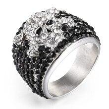 Джонни Холлидей vintage панк-рок череп кольца для мужчин женские ювелирные изделия из нержавеющей стали 316 в стиле хип-хоп классные дрель безымянный палец