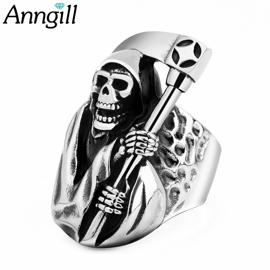 Alert Anngill Vintage Skull Ring Europe Style Men Party Ring Rock Punk Stainless Steel Decorations Hot Sale Anillos Mujer Jewelry Traveling