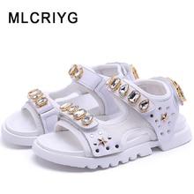 New 2019 Summer Kids Beach Sandals Baby Girls Rhinestone Shoes Boys Casual Children Star Brand White