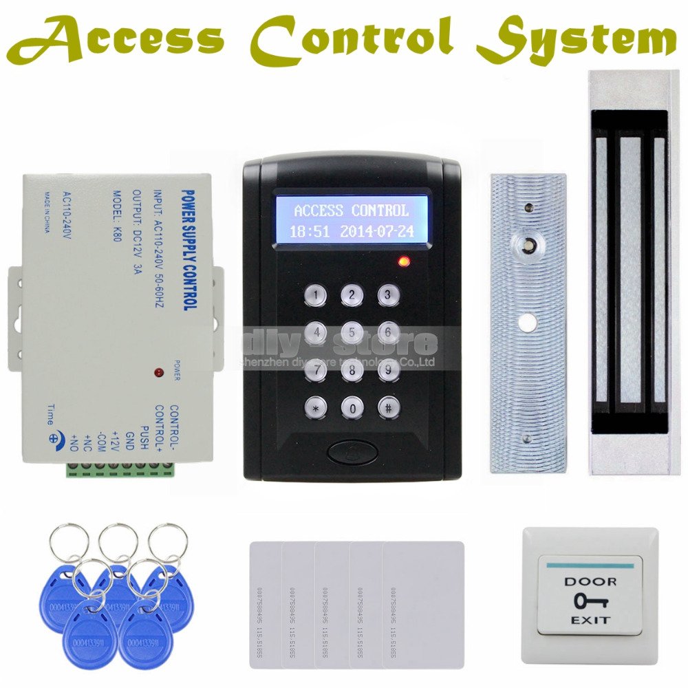 DIYSECUR LCD Password Keypad 125KHz RFID Reader with 180kg Electric Magnetic Lock Access Control System Security Kit Black BC200 diysecur lcd 125khz rfid reader password keypad access control door lock system kit electric bolt lock security system bc200
