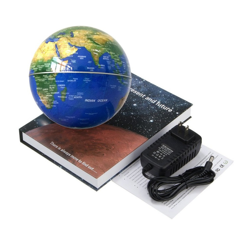 Magnetic Floating Globe 6 inch Illuminated Anti-Gravity Levitating Globe With Book Shape Base Desktop Office Home Decoration