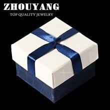 9923e1964545 ZY-JPR003 de calidad superior imitación cocodrilo piel blanca y azul Cruz  cinta de grabación en relieve de embalaje joyas caja p.