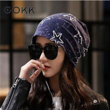 COKK Hat Female Beanies Star Pattern Stretch Hats For Women Men Unisex Summer Autumn Bonnet Womens Beanie Fashion 2019 New Black