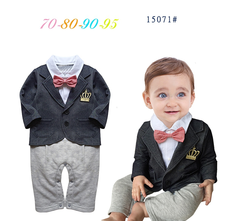 Free Shipping 4 sets/lot Baby Boy's Formal long sleeve Romper