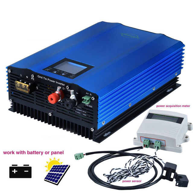 Inversor de rede com limitador, inversor de rede de 1200w com display lcd, modo de descarga de bateria, inversor de painel solar