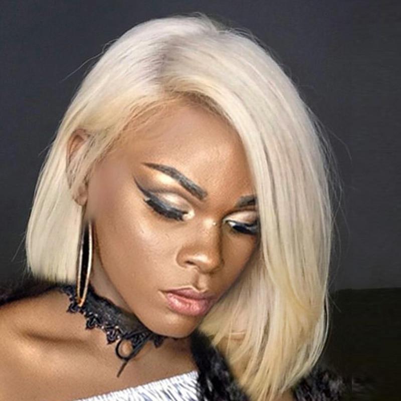 613 Fin Complète Avant de Lacet Perruques de Cheveux Humains Bob Cut Perruques Droit Brésilien Perruques Courtes Miel Blonde 150 Densité Jamais beauté Vierge