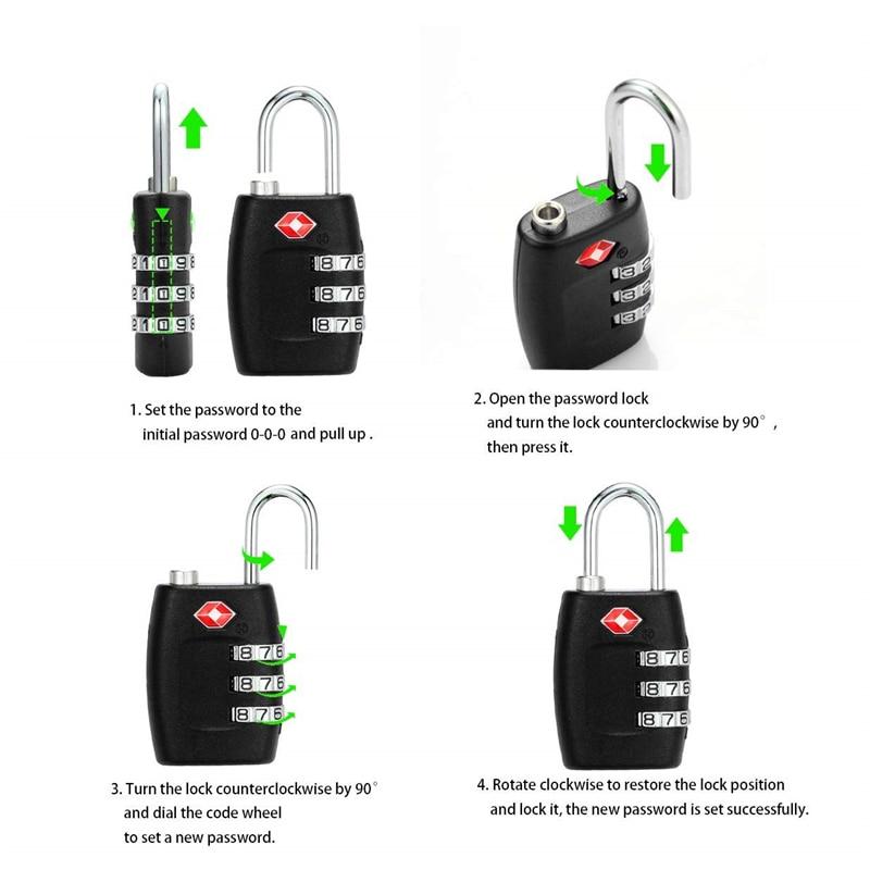 Lock TSA Approved 3 Digit Combination Black Lock Travel Luggage Suitcase Padlock TSA309 63x30x14mm For Furniture Hardware