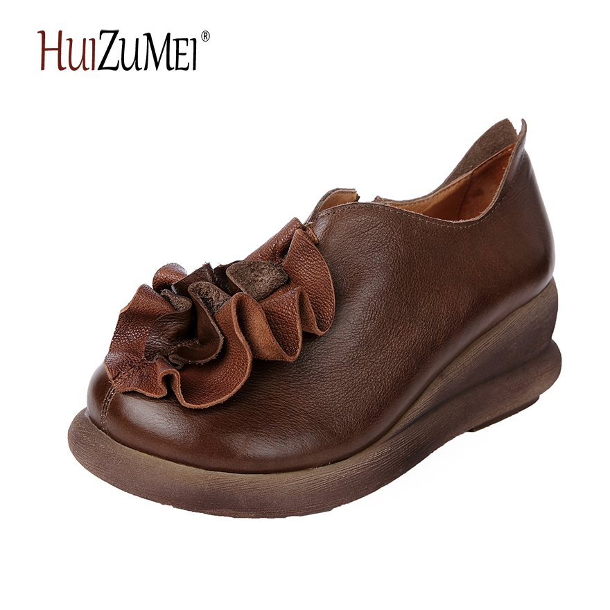 HUIZUMEI new genuine leather handmade comfortable casual women  flat round toe retro shoes