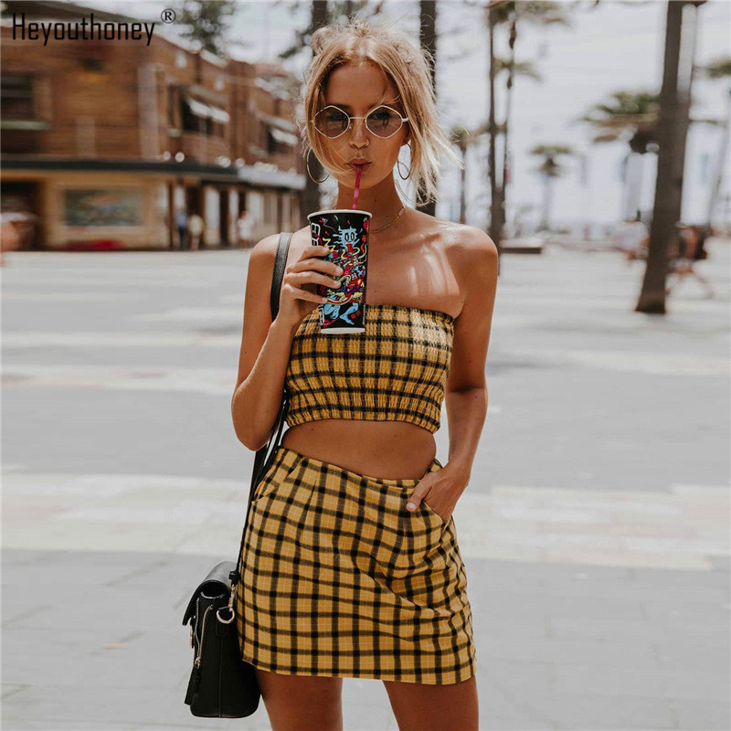 Heyouthoney 2018 summer new sexy plaid women sleeveless bralet bustier strapless crop vest tank tube top off shoulder short tops