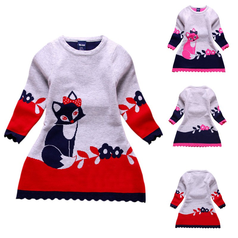 Baby Girls Dress Animal Applique Cotton Vestido Long Sleeve Fox Dresses Princess Costume for Kids Party Children Dresses 2-7Y princess girls dress children long sleeve cartoon baby girl cotton party dresses for kids 2017 new minnie mouse dress cotton