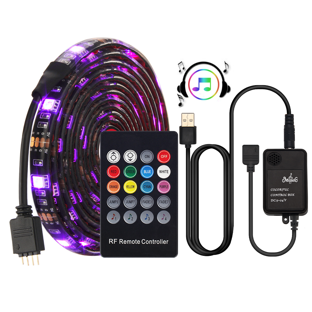 <font><b>USB</b></font> LED Strip <font><b>5050</b></font> RGB Music controller Sound sensor with RF Remote IP20/IP65 Music LED Strip Light image