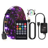 Tira LED USB 5050 RGB, controlador de música, sensor de sonido con mando a distancia RF IP20/IP65, tira de luz LED musical