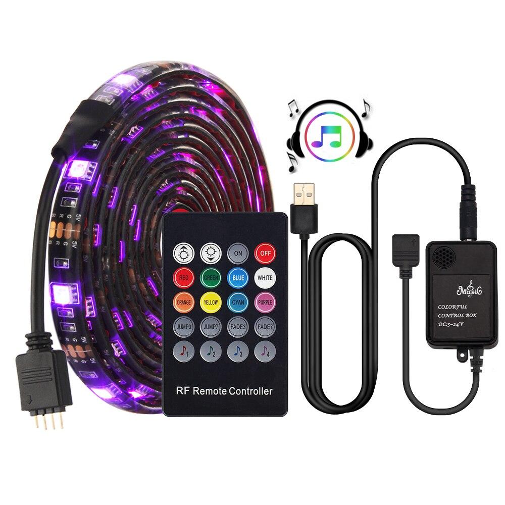 USB Tira CONDUZIDA 5050 RGB sensor De Som controlador de Música com Controle Remoto RF IP20/IP65 Música Luz Conduzida da tira