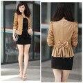 Hot Luva Longa Das Mulheres Magro Trespassado Puff Luva Suit Blazer Brasão Jacket Cor Sólida Camelo Preto Plus Size