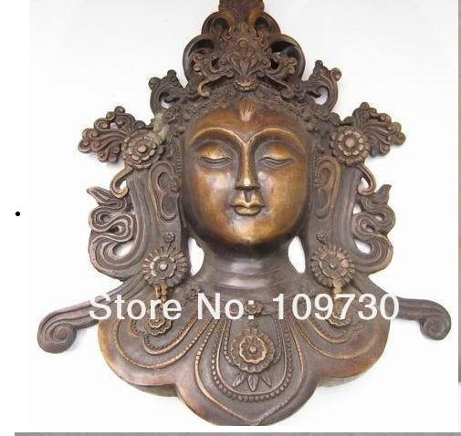 00297 Chinese Copper Ancient Statues Bronze Buddha Face Avalokitesvara Old Antique